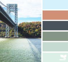 Bring nature in with this inviting color palette. Colour Pallette, Colour Schemes, Color Combos, Color Patterns, Bridge Design, Design Seeds, Color Swatches, True Colors, Color Splash