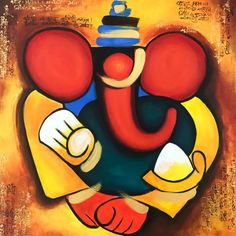 Ganesha Painting Indian art Painting on canvas Contemporary art Abstract Indian painting Hindu Lord Ganesha Paintings, Ganesha Art, Krishna Painting, Krishna Art, Sri Ganesh, Madhubani Painting, Indian Contemporary Art, Modern Art, Indian Art Paintings