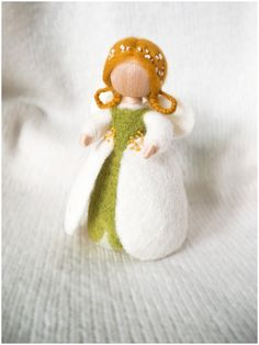 Needle Felted Waldorf Wool Fairy. Flowers Fairy snowdrops