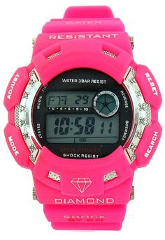 King Master Hot Pink Diamond Sport Watch Digital G Shock Style KM
