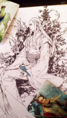 Thranduil. Nice....love the Oriental depiction... Reminds me of another post by someone who put Thranduil and an anime character Lord Sesshomaru side by side and put the face markings and silver hair of Sesshomaru on Thranduil. ♡