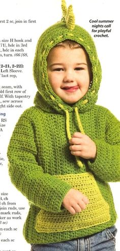 X774 Crochet PATTERN ONLY Dinosaur Hoodie Sweater by BeadedBundles, $5.95