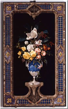 Vaso con fiori, anta per armadio, commesso di pietre dure, 1879, Firenze, Museo dell'Opificio delle Pietre Dure