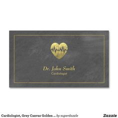 Cardiologist, Grey Canvas Golden Frame & Heart Appointment business card template with an image of a grunge golden heart (golden effect only not real gold color) with canvas texture. An appointment card on the back of this Doctor business card template, which helps you distributed your business cards. You can change text and background colors to make them perfect for your taste. A great design for Physician, Cardiologist, Medical assistant and other Healthcare related services.