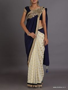 Neera Moonlight White And Twilight Blue Heavy Designer Border #DesignerLehengaSaree