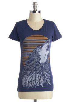 That's Howl It's Done Tee - Mid-length, Knit, Blue, Print with Animals, Casual, Critters, Short Sleeves, Scoop