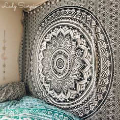Beautiful Black & White Mandala Tapestry by Lady Scorpio
