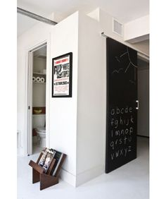 chalkboard paint on a sliding door