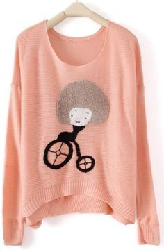 Pink Round Neck Long Sleeve Girl Print Pullovers Sweater - Sheinside.com