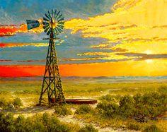 Golden Years ~ Kenneth Wyatt Western Art, Western Decor, Cowboy Pictures, Old Windmills, Old Farm Equipment, Southwest Decor, Cowboy Art, True Art, Illustration Art