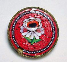 ANTIQUE Micro Mosaic VICTORIAN Flower BUTTON #10