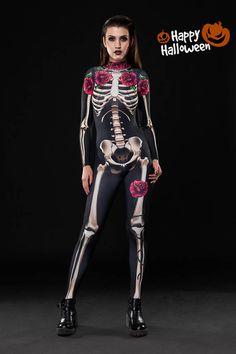 SKELETON GLAM Halloween Costume Full Body Skeleton Adult