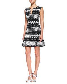 Split V-Neck Flounce Dress by Veronica Beard at Neiman Marcus.