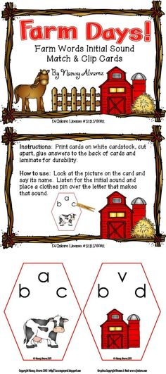FREEBIE Farm Words initial sound match and clip cards includes 20 cards.   Instructions: Print cards on white cardstock, cut apart, glue answers to the back of cards and laminate for durability.   How to use: Look at the picture on the card and say its name. Listen for the initial sound and place a clothes pin over the letter that makes that sound.