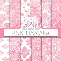 Damask digital paper: PINK DAMASK with pink por royaldigitalstore