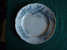 Antique Rorstrand BELLA plate 1884 Sweden Bird Flowers 2 marks underglize PERL