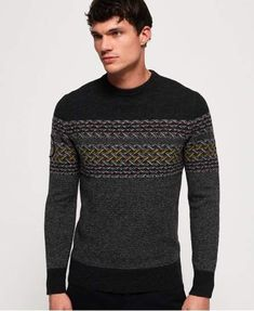 Shop Superdry Mens Falster Fairisle Crew Jumper in Dark Charcoal. Buy now with free delivery from the Official Superdry Store. Sweater Jacket, Men Sweater, Pop Punk Fashion, Lolita Fashion, Hipster Accessories, Fashion Accessories, Punk Rock Outfits, Emo Outfits, Emo Dresses