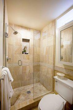 huge walk-in shower...oooh yeah. Love that the door opens IN. No water dripping onto the floor. Brilliant!!