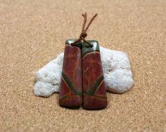Red Creek Jasper Earring Pair  Red and Green Smooth by ABOSBeads