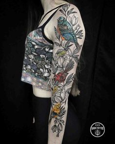 Tattoo sleeve birds and flowers bird tattoo sleeves, leg sleeve tattoo, tattoo sleeve designs Half Sleeve Tattoos Color, Bird Tattoo Sleeves, Full Sleeve Tattoo Design, Leg Sleeve Tattoo, Tattoos For Women Half Sleeve, Mandala Tattoo Design, Full Sleeve Tattoos, Leg Tattoos, Tattoo Designs