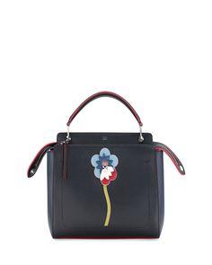 85b72b84b3 Fendi Dotcom Flower Medium Leather Satchel Bag