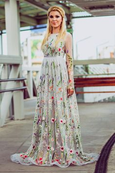 See the same dress white color here: https://www.etsy.com/listing/552755601/flower-wedding-dress-in-white-floral & the one in black here: https://www.etsy.com/listing/499441161/embroidered-formal-dress-floral-maxi This long wedding gown in gray color is made of unique embroidered fabric with