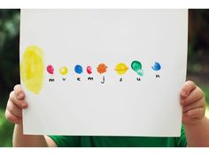 Make a planet thumbprint pic. We may do this for preschool tomorrow! Great art idea for our space/ solar system lesson.