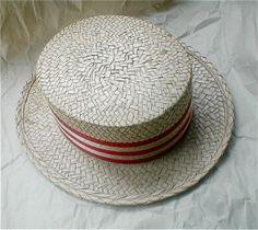 Costume Italian Boater Hat  Straw Skimmer For by studiostebbylee, $17.00