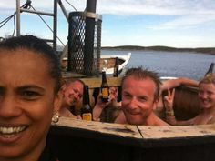 Norway- 6/7/12  Yesterday afternoon was spent on an ex-whaling boat fully decked out with sauna and hot tub...people coming straight out of sauna heat jumping in  to 8 degree sea...NOT ME... I let the guys represent there on that front.....met norwegian reggae band soaking in hot tub on top deck..  Played the gig at 1.30 am in a teepee! This time no midnight sun and it was raining…but no dark either . N xxx