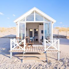 This Summer, we're going to sleep in a little wood house on the Hague beaches of Kijkduin. We've booked a bungalow on the sand, between the Northern Sea and Surf Shack, Beach Shack, Beach Huts, Beach Cottage Style, Coastal Cottage, Coastal Homes, Home Beach, Tiny Beach House, Small Beach Houses
