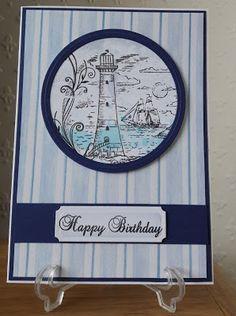 Ivy Leaf Crafts: Lighthouse Porthole using kanban stamps Kanban Crafts, Michael Art, Leaf Crafts, Ivy Leaf, Adult Crafts, Masculine Cards, Lighthouse, To My Daughter, Decorative Plates