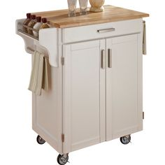 Home Styles White Cart with Wood Top  200