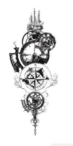 Amazing Compass Tattoo Designs and Ideas Ideas ., 65 Amazing Compass Tattoo Designs and Ideas Ideas . Tattoo Sleeve Designs, Tattoo Designs Men, Sleeve Tattoos, Clock Tattoo Design, Compass Tattoo Design, Geometric Tattoo Clock, Compass Tattoos For Men, Pirate Compass Tattoo, Forearm Tattoos For Guys