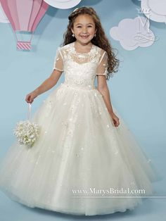 Shimmering tulle flower girl ball gown with scoop neck, V-back, lace applique, back zipper with buttons, and matching sheer bolero.