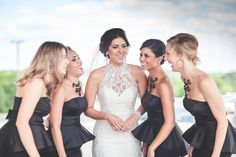"""See life long friends say """"I do"""" in a DIY classic themed wedding. A black, white and gold color palette runs throughout this beautiful real wedding. Wedding Dresses, Bridesmaids, Black Satin, Black And White, Gold Color Palettes, Here Comes The Bride, Looking Gorgeous, Real Weddings"""