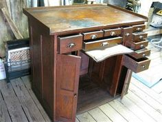 by HenleyTownUSA on Etsy Industrial Workbench, Woodworking Workbench, Jewellers Bench, Antique Tools, Vintage Antiques, Corner Desk, Repurposed, Craft Studios, Watches