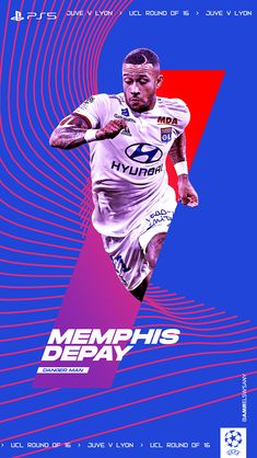 Depay Memphis, Champions League Football, Football Design, Curly Hair Styles, Poster, Behance, Marketing, Drawings, Hs Sports