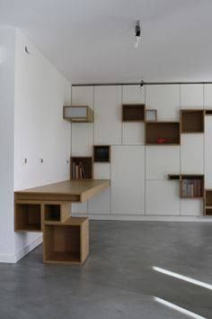 Built In Furniture, Unique Furniture, Furniture Design, Bookcase Shelves, Shelving, Modern Interior Design, Interior Architecture, Inside A House, Muebles Living