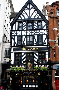 The George Pub, Fleet Street, London, is the only wooden building to survive the Great Fire of London in 1666.