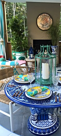 Beautifully hand painted, our Elephant Umbrella Table pays homage to the sometsuke technique, the practice of painting Cobalt-based pigments on a White base. | Madcap Cottage for Hampton Designer Showhouse 2015