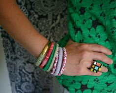 Recycled T-Shirt Bangle Bracelets::   