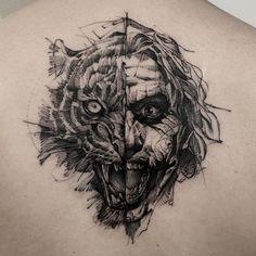 Tiger and joker tattoo idea on back by @bk_tattooer
