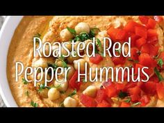 """I once saw a bumper sticker that read """"Real Women Love Hummus"""" and it made me laugh out loud because it's SO TRUE, women go gaga for hummus, and I ha. Appetizer Recipes, Snack Recipes, Appetizers, Snacks, Red Pepper Hummus, Homemade Hummus, Chicken Thigh Recipes, Roasted Red Peppers, Dressing Recipe"""