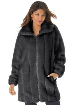 Plus Size Short Faux Fur Coat