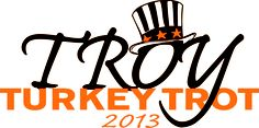 Event logo for the 66th annual Troy Turkey Trot, this Thanksgiving (11/28). Register at www.TroyTurkeyTrot.com.