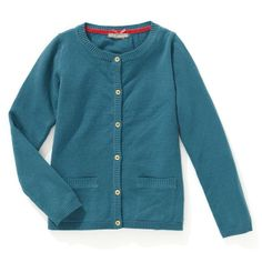 Girl's Cotton Blend Cardigan with Pockets
