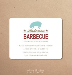 backyard pig barbecue invitation set by OliveandStar on Etsy, $16.75