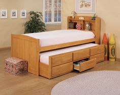 Maple Captain's Twin Bed with Under Bed Trundle Drawers