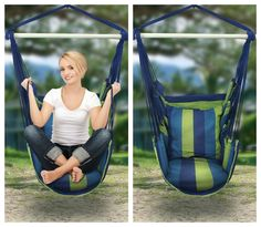 Blue Green Bohemian Boho Cushioned Hammock Hanging Chair