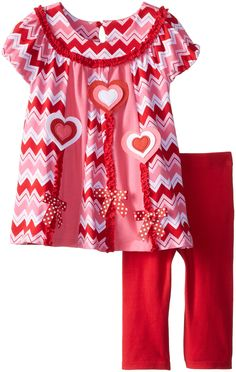 Bonnie Jean Girls Valentine Heart Chevron Striped Dress & Legging Outfit, 18M